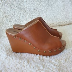 Lucky Brand Leather Mule Wedges